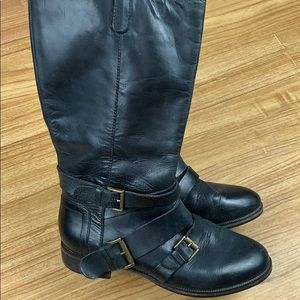 Joie Black Leather Buckle Harness Riding Boots 7.5
